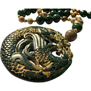 Dark Green Jade Medallion of Dragon and Phoenix with Jade-Dzi-Picture Jasper Bead Necklace, 20""