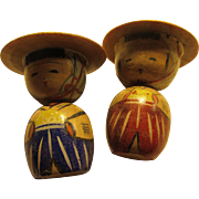 "2"" Vintage Japanese Rural Farmers Wooden Kokeshi Dolls, Set of 2"