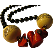 """Hand-Etched Japanese Wooden Ball Beads of Monks and Holy Sutras with Red Coral and Black Agate Bead Necklace, 21"""""""
