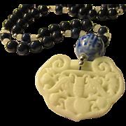 "White Jade Money Bat-Chinese Coin Pendant with Egyptian Lapis Lazuli Bead Necklace, 24"""