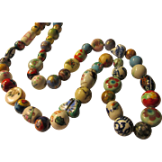 """Colorful Hand Painted Ceramic Bead Necklace, 26"""""""