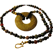 "Chinese Hetian Jade Circular ""Pi"" Donut Pendant with Multi-Gemstone Bead Necklace, 26"""