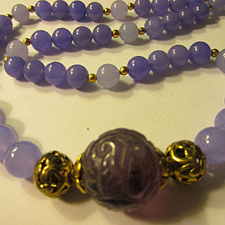 """Chinese Shou Carved Fluorite Focal Bead with Russian Amethyst Bead Necklace, 22"""""""