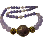Chinese Shou Carved Fluorite Focal Bead with Russian Amethyst Bead Necklace, 22""