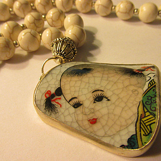 """Little Girl Chinese Pottery Shard Pendant with White Howlite Bead Necklace, 22"""""""