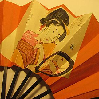 Japanese Decorative Folding Fan of Ukiyo-E Panel of Woman Gazing in Mirror