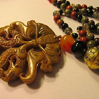 "Chinese Dragon and Money Bat Jade Medallion with Multi-Gemstone Bead Necklace, 23"""