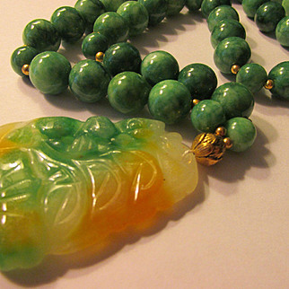 """Tri-Color Jade Pendant of Chinese Coins and Money Bat with Green Jade Bead Necklace, 28"""""""