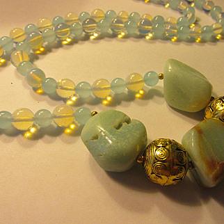 "Natural Amazonite Chunks with Moonstone and Aquamarine Bead Necklace, 29"""