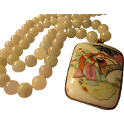 """Vintage Pottery Shard of Chinese Emperor with Jadeite Bead Necklace, 24"""""""