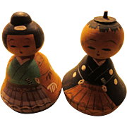 """1 3/4"""" Vintage Hand Painted Wooden Kokeshi Dolls of Japanese Feudal Lord and Lady, Set of 2"""