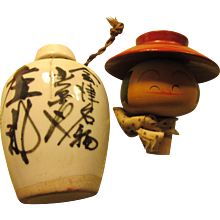 Miniature Japanese Sake Bottle with Kokeshi Doll Head Stopper, 4 3/4""