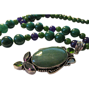 Artisan Gemstone Pendant of Aventurine-Amethyst-Peridot with Green Jade and Amethyst Bead Necklace, 20""