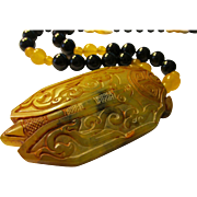 """Giant Yellow Jade Cicada Insect Pendant with Black Agate-Jade Bead Necklace, 24"""""""