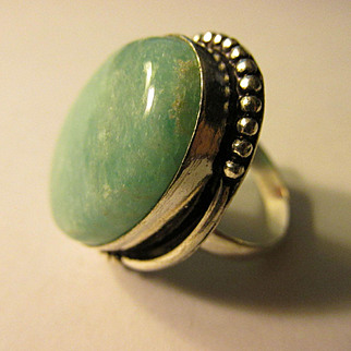 Artisan Teal Green Aventurine Oval Cut Stone Finger Ring, Size 10.5
