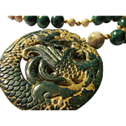 Deep Green Jade Dragon and Phoenix Medallion with Jade-Picture Jasper-Dzi Bead Necklace, 20""