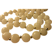 Natural Gray Quartz Bead Single Strand Necklace, 32""
