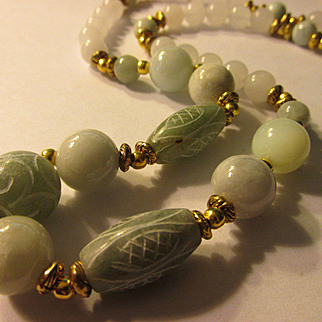 Etched and Smooth White and Celadon Green Jade Bead Necklace, 26""