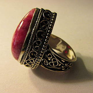 Pretty Pink Teardrop Gemstone Finger Ring, Size 6.5