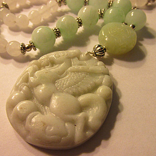 Flying Horse White Jade Pendant with Mint Green and White Jade Necklace, 24""