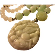 """Flying Horse White Jade Pendant with Mint Green and White Jade Necklace, 24"""""""