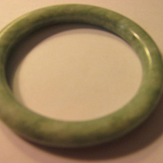 Tubular Green Chinese Jade Bangle Bracelet, 61mm