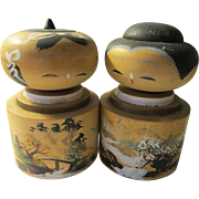 "3 3/4"", Hand Painted Kokeshi Dolls of White Sakura Near Bridge Over River, Set of 2"