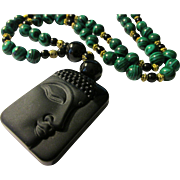 """Face of Buddha on Black Obsidian Stone with Green Malachite Bead Necklace, 27"""""""