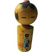 "5 1/2"", Geisha At Red Bridge Wooden Kokeshi Girl Doll"