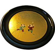 "Children Chasing Butterfly on Black Lacquer Plate with Gilded Gold Leaf, 6 1/4"", Set of 5"
