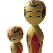 """HOLD FOR GRETCHEN - 4 1/4"""", 2 3/4"""", Mama and Baby """"Naruko"""" Style Hand Painted Japanese Kokeshi Dolls, Set of 2"""