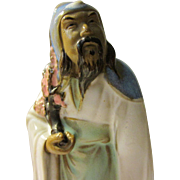 Old Chinese Mudman Figurine of Scholarly Sage Holding Plum Blossom Branch, 5 1/4""