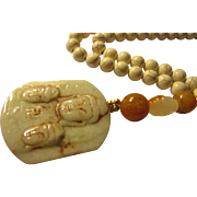 Three Faces of the Buddha Jade Pendant with Jade-Gemstone Bead Necklace, 18""