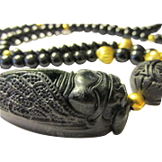 "Black Jade Cicada Pendant with Black Cinnabar and Agate Bead Necklace, 24"""