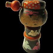 "2 3/8"", Vintage Hand Painted Kokeshi Doll with ""Tsuru"" Crane Motif"