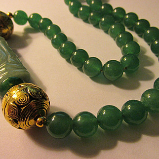"""Carved Aventurine Bar Between Brass Ball Beads with Green Jade Bead Necklace, 19"""""""
