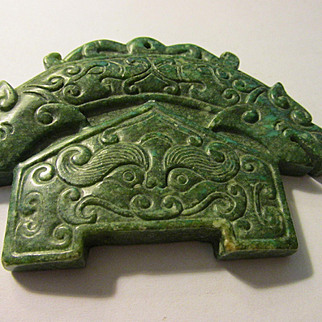"""Chinese Green Jade """"House of Dragons"""" Pendant-Tablet-Collectible-Paperweight"""