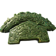 "Chinese Green Jade ""House of Dragons"" Pendant-Tablet-Collectible-Paperweight"