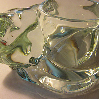 Clear Glass Kitty Cat Votive Candle Holder