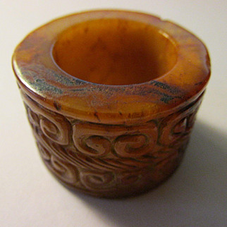 Old Chinese Jade Ring with Tribal Motif, Size 12.5