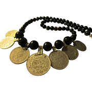 Middle Eastern Vintage Silver Tone Metal Coins with Black Agate Bead Necklace, 22""