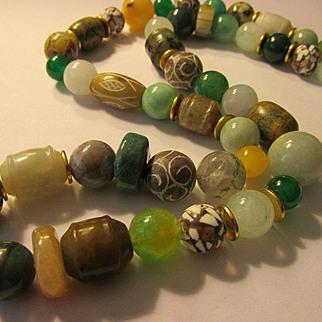 "Jade and Multi-Gemstone Bead Necklace, 28"""