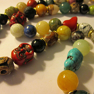 """Red Laughing Buddha Charms with Jade-Cinnabar-Coral-Turquoise-Dzi-Agate-Copper Coil Bead Necklace, 30"""""""