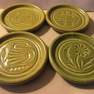 Vintage Pigeon Forge Pottery Buttermold Imprinted Coasters, Set of 4