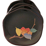 Japanese Lacquerware Dessert Plates with Plum Blossom Motif, Set of 5