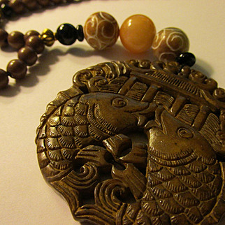 """Coco Brown Jade Prosperity Fish Pendant with Jade and Gemstone Bead Necklace, 22"""""""