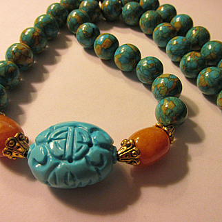 """Carved Chinese """"Shou"""" Turquoise Focal Bead with Yellow Jade and Turquoise Magnesite Bead Necklace, 21"""""""