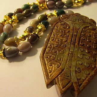 """Auspicious Cicada Jade Pendant with Multi-Colored Agate Bead Necklace, 22"""""""