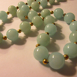 "Blue Jade Bead Necklace, 22"""