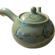 "Celadon Green Ceramicware Side Handle Teapot with Flying ""Tsuru"" Cranes, 8"""
